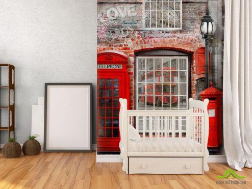 Фотошпалери, колір: «червоний» Фотошпалери Телефонна будка