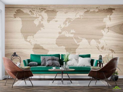 Фотообои карта Мира по выгодной цене Фотообои Карта мира на фоне дерева