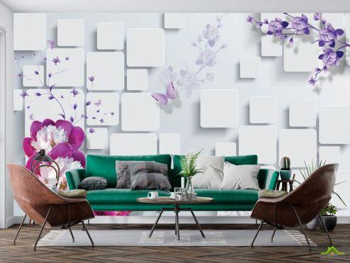 3Д  Фотообои Цветы, стена, квадраты купить