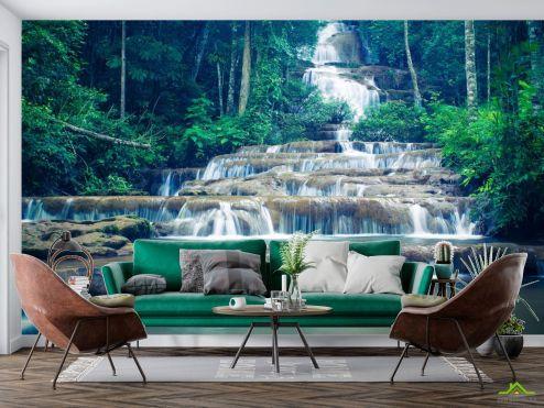 Природа Фотообои ступенчатый водопад в лесу