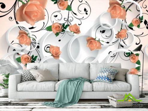 3Д  Фотообои 3D розы