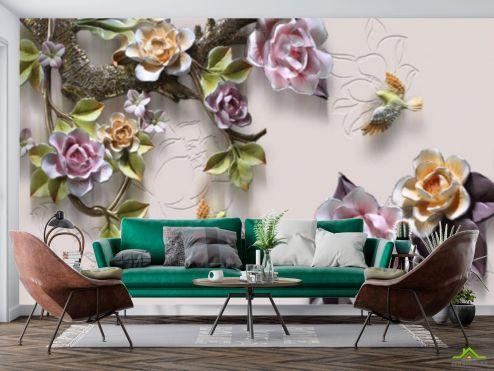 3Д барельеф Фотообои Цветы на ветке и птицы