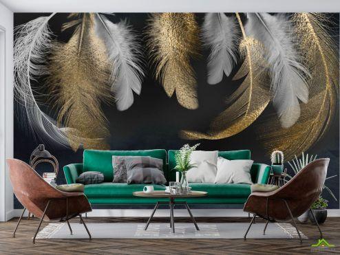Фотообои перья по выгодной цене Фотообои Золотые перья 3д