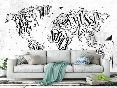 обои Карта Фотообои Карта на белом фоне