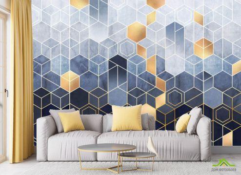 в гостиную Фотообои Разноцветные шестиугольники
