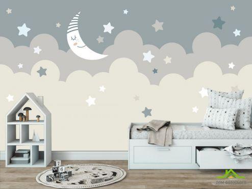 Little kids Фотообои Зведное небо и месяц