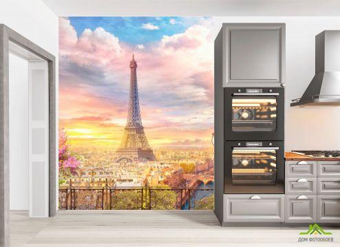 Розовые  Фотообои в кухню Париж