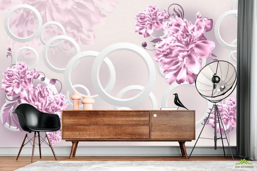 Фотообои Фиолетовые пионы и круги