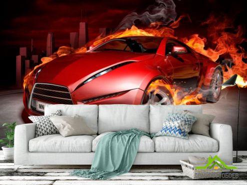 Фотошпалери автомобілі Фотообои Огненный автомобиль