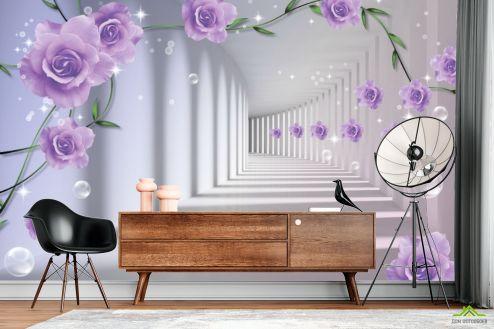 3Д  Фотообои 3D бутоны фиолетовых роз купить