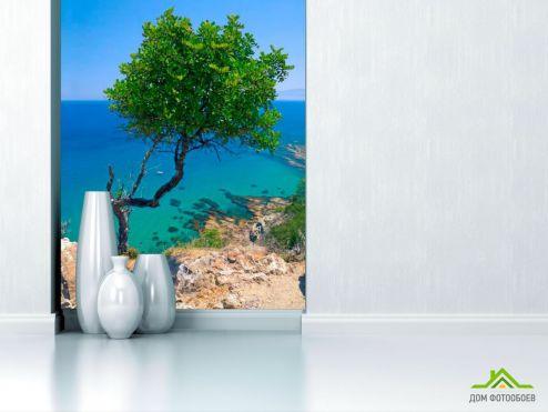 Пляж Фотообои Дерево на скале