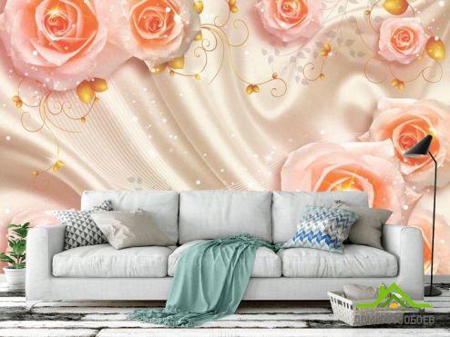 3Д  Фотообои Розы на атласе 3д