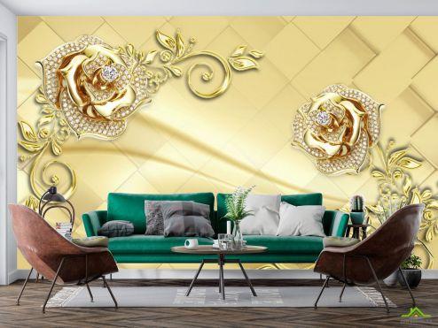 3Д  Фотообои  Золотые брошки на коричневом фоне