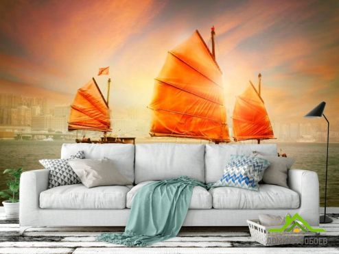 Корабли Фотообои Корабль с оранжевыми парусами
