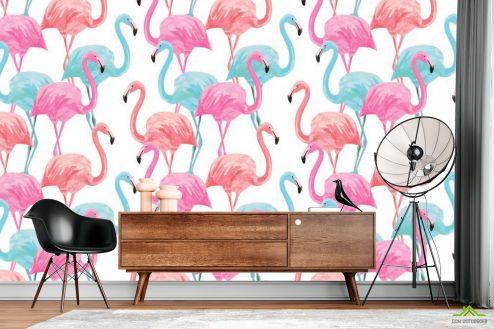 Белые  Фотообои Фламинго