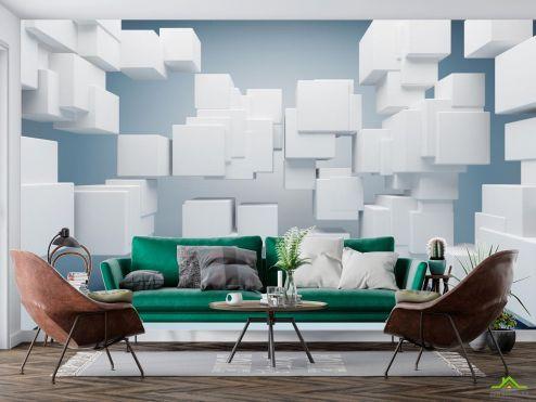 3D  расширяющие пространство Фотообои Белые кубики 3Д купить