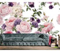 Фотообои розовые и фиолетовые пионы рисунок