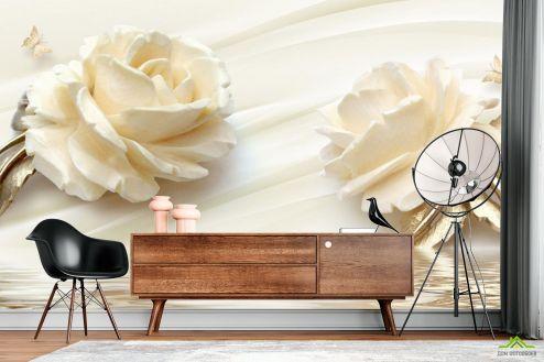 3Д  Фотообои Две большых керамических розы