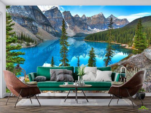 Фотообои Природа по выгодной цене Фотообои кристальное озеро в горах