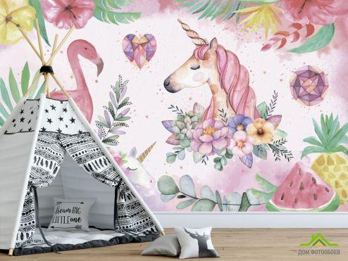 Каталог фотообоев по выгодной цене Фотообои Фламинго детские