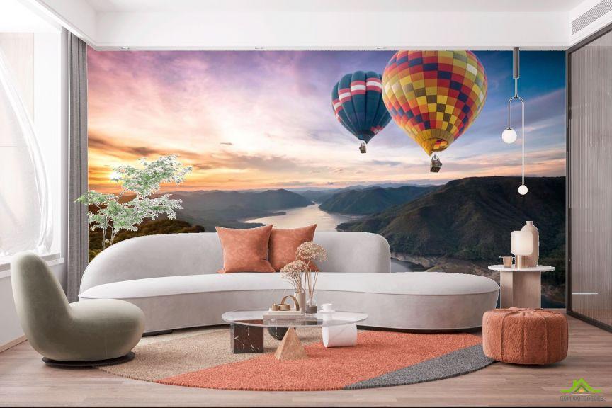 Фотообои Два воздушных шара над речкой