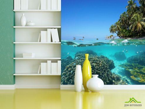 Фотообои Море по выгодной цене Фотообои Море, кораллы и пальмы