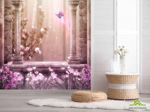 обои Фрески Фотообои Розовый замок