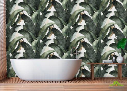 Фотообои в ванную по выгодной цене Фотообои Банановый паттерн