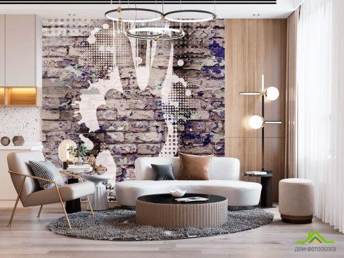 лофт Фотообои Графити на кирпичной стене