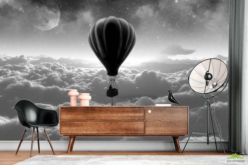 Черно-белые  Фотообои воздушный шар