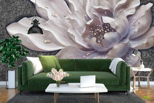 3Д   Фотообои Керамический цветок барельеф