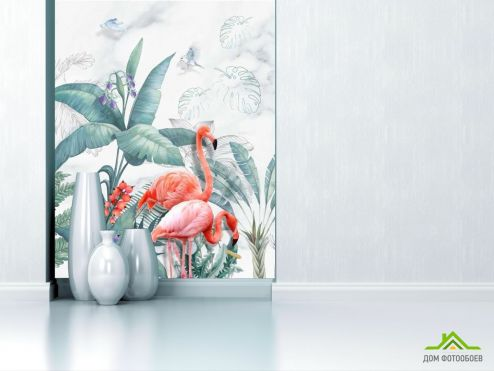 обои Животные Фотообои Фламинго и листья