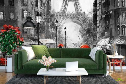 Иллюстрации Фотообои ЧБ улочка Парижа