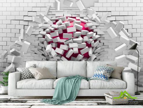 Серые  Фотообои 3d кирпичная стена