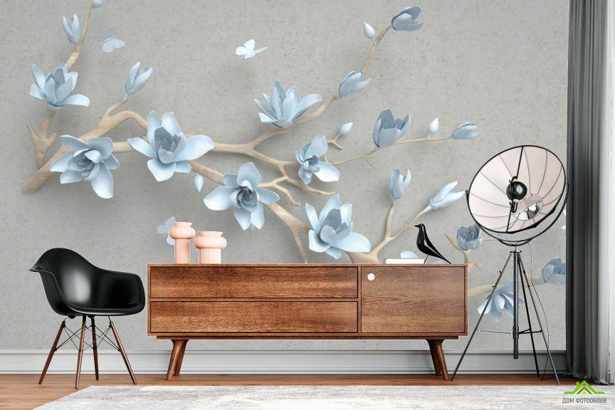 Фотообои Ветка голубых цветов