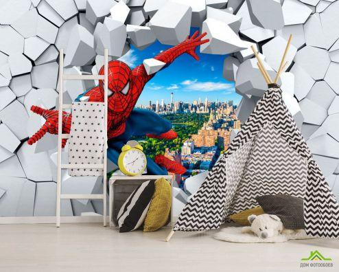Фотошпалери, колір: «червоний» Фотошпалери Людина павук 3Д