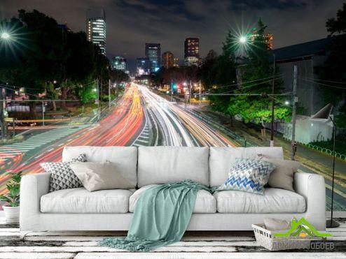 Расширяющие пространство Фотообои Дорога в мегаполисе купить