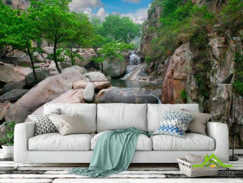 Водопад Фотообои Деревья, вода, горы купить