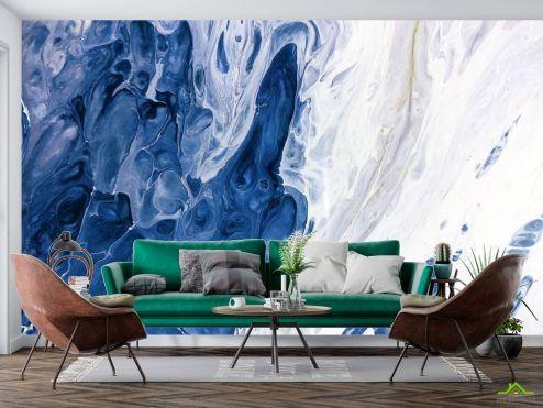 Каменная стена Фотообои синие и белые разводы