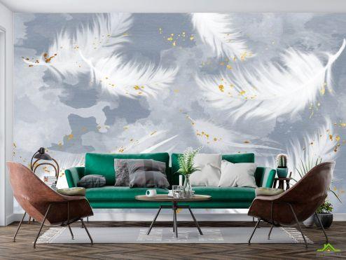Фотообои перья по выгодной цене Фотообои Перья на голубом с золотом