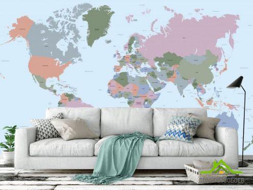Карта Фотообои Векторная голубая карта