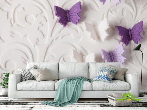 3D объемные Фотооои объёмные бабочки