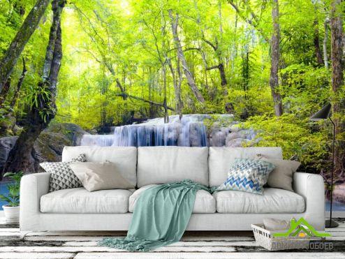 Природа Фотообои Водопад и деревья купить