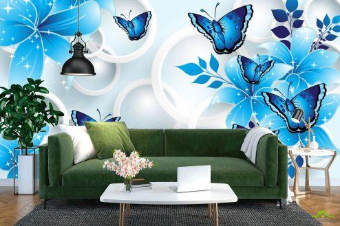 3Д  Фотообои  Синие цветы вектор