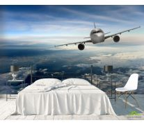 Фотообои самолёт над облаками