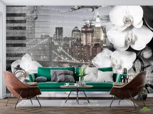 3D Фотообои Орхидея на фоне города купить