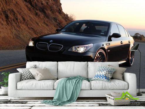 Транспорт Фотообои черный BMW в горах