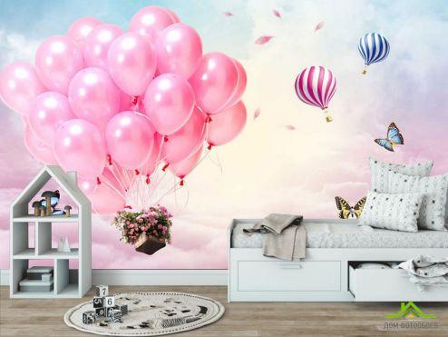 обои Little kids Фотообои Розовые воздушные шарики в небе