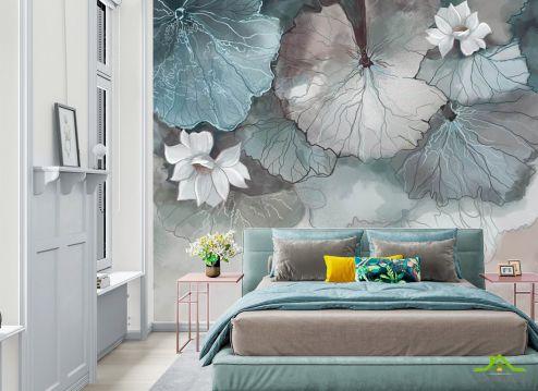 Фотообои в спальню по выгодной цене Фотообои Акварельные лотосы