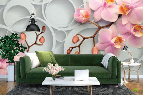 стереоскопические Фотообои Розовые орхидеи